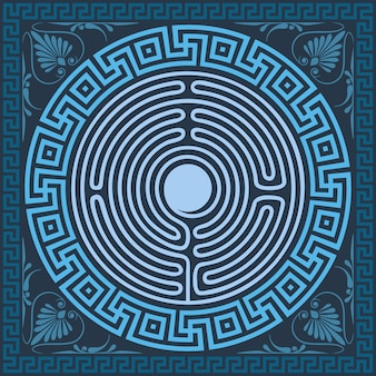 Vector tradicional adorno griego azul vintage (meandro)