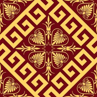 Vector tradicional adorno griego oro vintage (meandro)