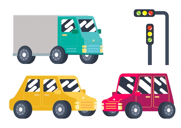 Vector de transporte lindo coche colorido