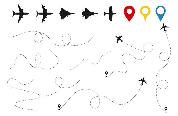 Vector de trayectorias de plano. seguimiento de aviones, siluetas de aviones, pines de ubicación aislados sobre fondo blanco.