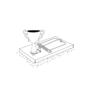 Vector de trofeo exitoso trampa
