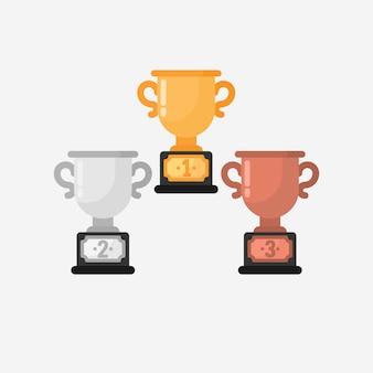 Vector de trofeo de ganador en diseño plano