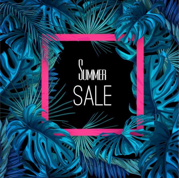 Vector tropical deja plantilla de banner de venta de verano. bosque de la selva con flores monstera de palma y marco rosa