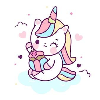 Vector de unicornio kawaii comer cupcake