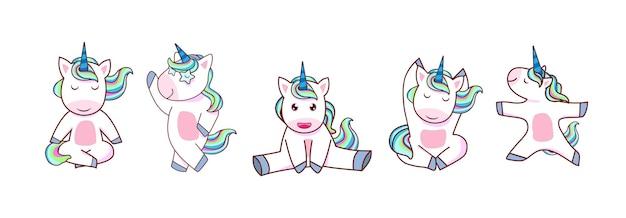 Vector de unicornio kawaii. conjunto de pony mágico con arco iris de colores. ilustración de diseño de personajes de dibujos animados de animales.