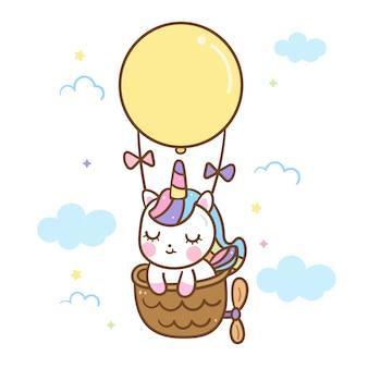 Vector de unicornio kawaii en globo aerostático