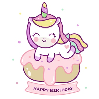 Vector de unicornio kawaii en pastel