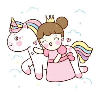 Vector de unicornio kawaii y pequeña princesa de dibujos animados