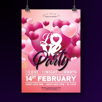 Vector valentines day party flyer design