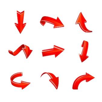 Vector, varias, flechas rojas, conjunto, aislado