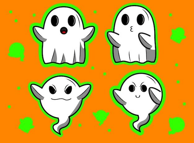 Vector, vario, halloween, fantasmas, ilustraciones