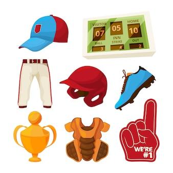 Vector varios simbolos de beisbol