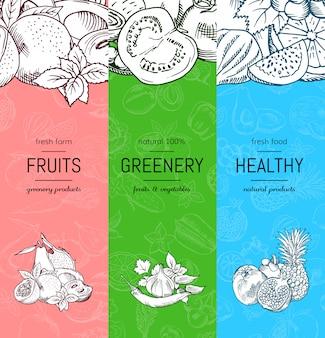 Vector vegano, conjunto de pancartas sanas y orgánicas con bocetos de frutas y verduras.