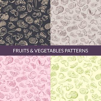 Vector vegano de frutas y verduras, comida sana, patrones orgánicos establecidos. fondo colección de ilustraciones
