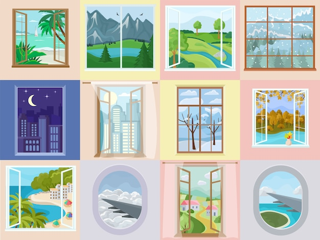 Vector de la ventana de diseño de interiores para el hogar con una hermosa vista en la montaña mar playa vacaciones ilustración conjunto de decoración de marco de madera de la casa