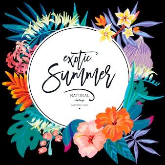 Vector verano deja vintage tarjeta de felicitación exótica