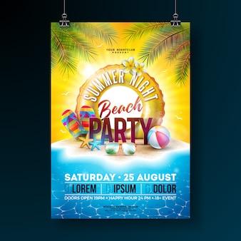 Vector verano noche fiesta en la playa flyer diseño con hojas de palmeras tropicales y flotador