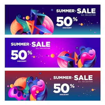 Vector verano venta 50% descuento fluido colorido banner