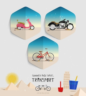 Vector de verano y viajes conjunto de iconos de transporte.