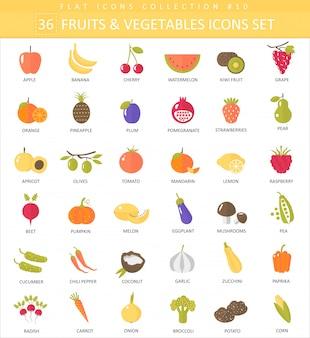 Vector de verduras y frutas color conjunto de iconos plana. diseño de estilo elegante.