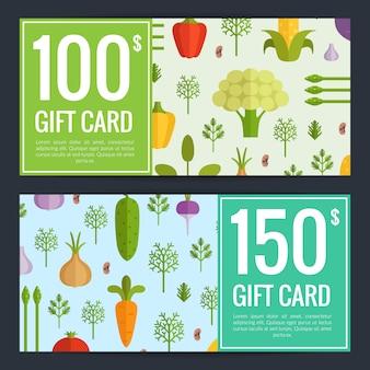 Vector de verduras planas veganas plantillas de vales de compras. ilustración de tarjeta de regalo