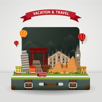 Vector de viajes mundiales y concepto de vacaciones.