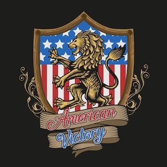 Vector de victoria de león americano