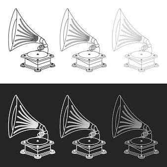 Vector viejo gramófono y símbolo de la música