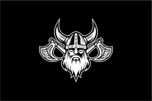 Vector vikingo blanco y negro