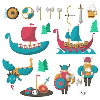 Vector de vikingos planos, dragones voladores y naves largas.