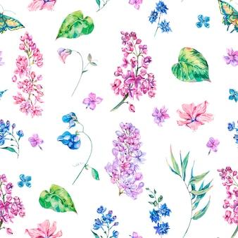 Vector vintage floral de patrones sin fisuras con rosa lila