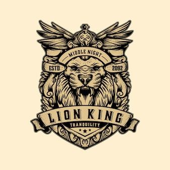 Vector vintage de plantilla de logotipo de rey león