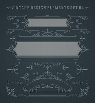 Vector vintage remolinos adornos decoraciones elementos de diseño en pizarra