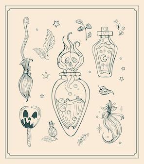 Vector vintage set ilustración elementos mágicos, dibujo gráfico para halloween.