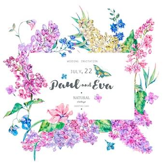 Vector vintage tarjeta de felicitación floral con rosa lila