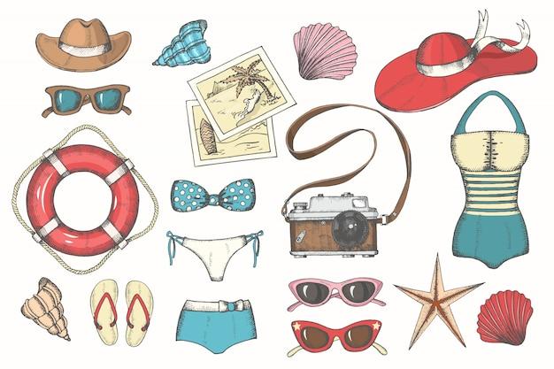 Vector vintage de verano con accesorios de verano para hombres y mujeres de color dibujados a mano.