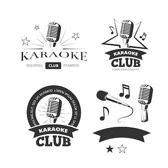 El vector vocal del karaoke del vintage etiqueta los emblemas de las insignias. plantilla de logotipos para el club de karaoke illustrati