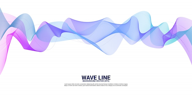 Vector3481 curva de línea de onda de sonido púrpura y azul sobre fondo blanco. elemento para vector de tecnología temática futurista