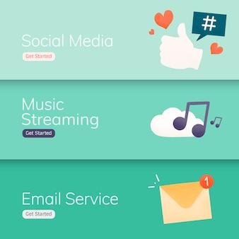 Vectores de banner de aplicaciones de redes sociales