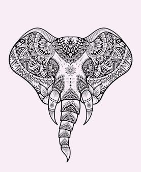 Vectores cabeza de elefante con adornos de mandala de época.