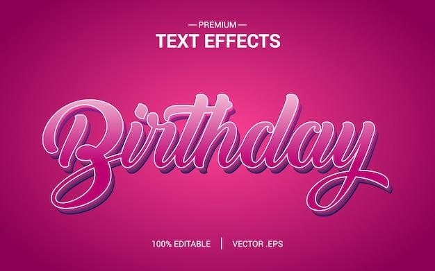 Vectores de efecto de texto de cumpleaños, conjunto elegante rosa púrpura abstracto efecto de texto de cumpleaños