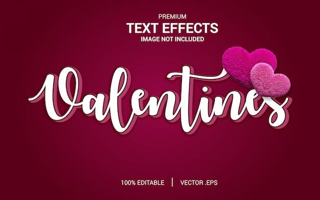 Vectores de efecto de texto de san valentín, conjunto elegante rosa púrpura abstracto efecto de texto de san valentín