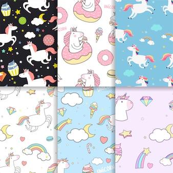 Vectores de fondo de patrones sin fisuras unicornio colorido