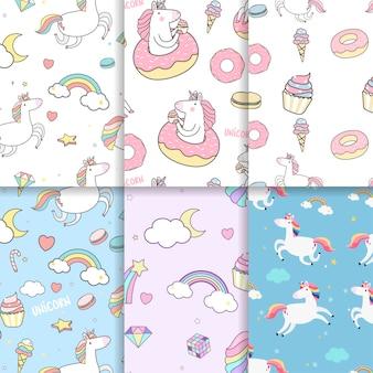 Vectores de fondo unicornio de patrones sin fisuras de colores