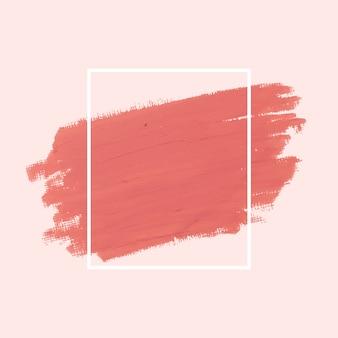 Vectores de la insignia de trazo de pincel rosa