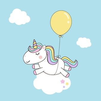 Vectores lindos del personaje de dibujos animados del unicornio con el arco iris en colores pastel. kawaii filly unicornio