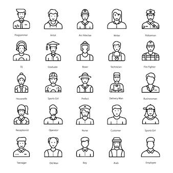 Vectores de línea de avatares humanos
