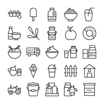 Vectores de productos de granja y lácteos