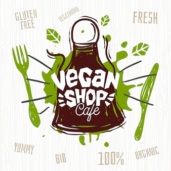 Vegan shop cafe logo fresh organic, cien por ciento vegano. dibujado a mano.