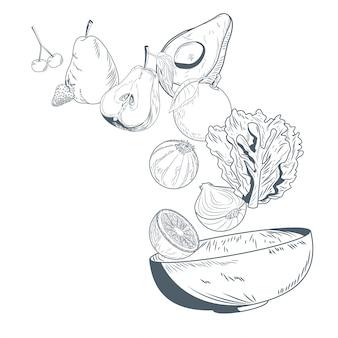 Vegetales y frutas en un bol mano dibujar